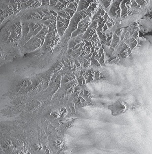 The above image is an ERS-2 view of the Alaska Peninsula and Augustine Volcano was part of the first ERS-2 data received at ASF. © ESA 1995