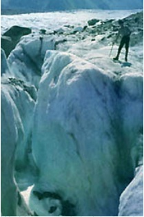 standing on glacier