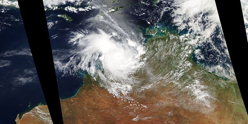 Tropical Storm Marcus over northern Australia on 18 March 2018 (MODIS/Aqua)