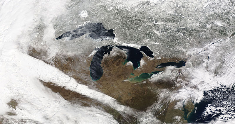 The Great Lakes in USA and Canada on 25 March 2018 (MODIS/Terra)