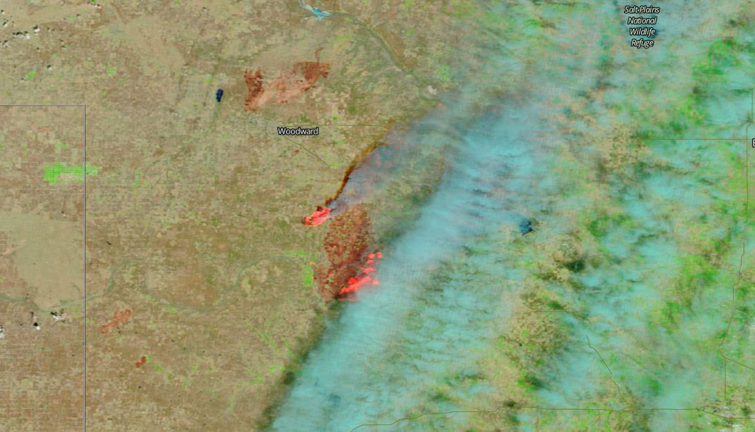 Wildfires in western Oklahoma on 13 April 2018 (MODIS/Terra)