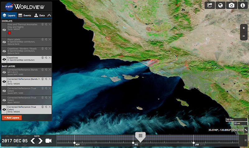 Thomas Fire, California on 6 Dec 2017 (MODIS/Terra) in the Worldview interface