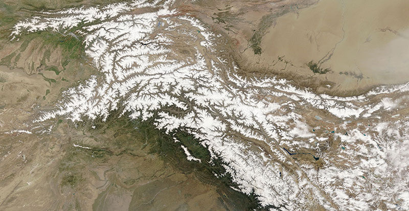 Karakoram Range on 29 April 2018 (MODIS/Terra)