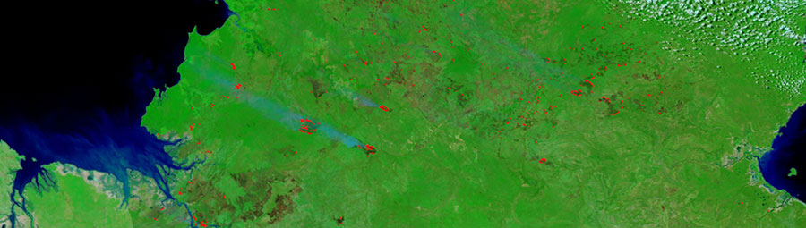 Fires in the Northern Territory, Australia on 6 May 2018 (Suomi-NPP/VIIRS)