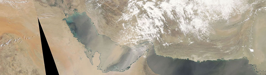 Dust Storm in the Persian Gulf on 13 May 2018 (MODIS/Aqua)