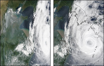 Typhoon Rusa browse image, showing bow-tie distortion (left) and geometric correction for bow-tie effect (right).