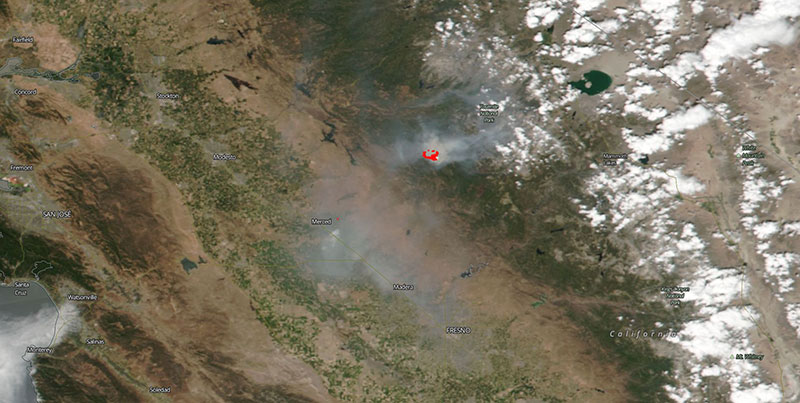 Ferguson Fire in California on 15 July 2018 (Suomi-NPP/VIIRS)