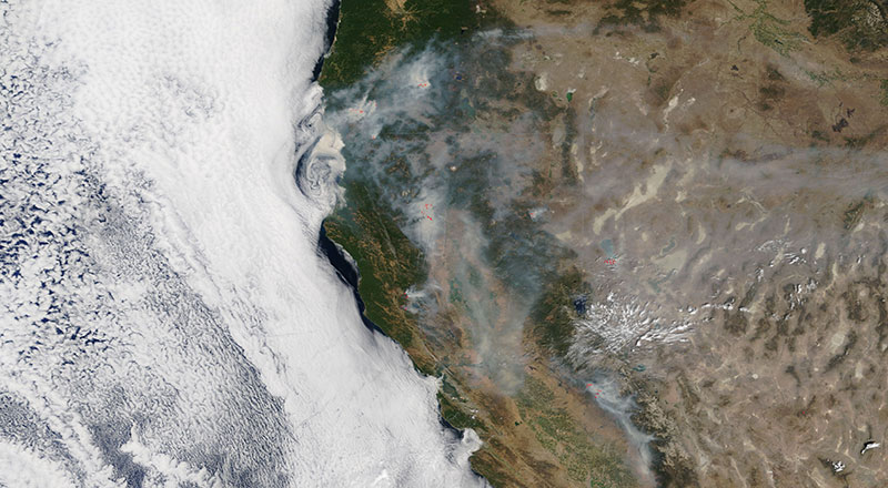 Fires in western USA on 29 July 2018 (MODIS/Terra)