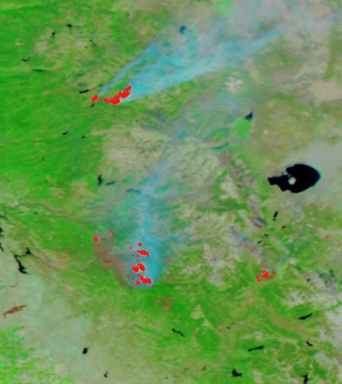 Ferguson, Donnell and Lion Fires, CA on 5 Aug 2018 (Suomi-NPP/VIIRS)