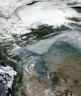 Smoke from fires in British Columbia travel across Canada, 10 Aug 2018 (Suomi-NPP/VIIRS)