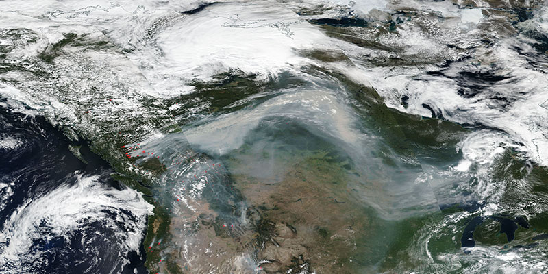 Smoke from fires in British Columbia travel across Canada, 12 Aug 2018 (Suomi-NPP/VIIRS)