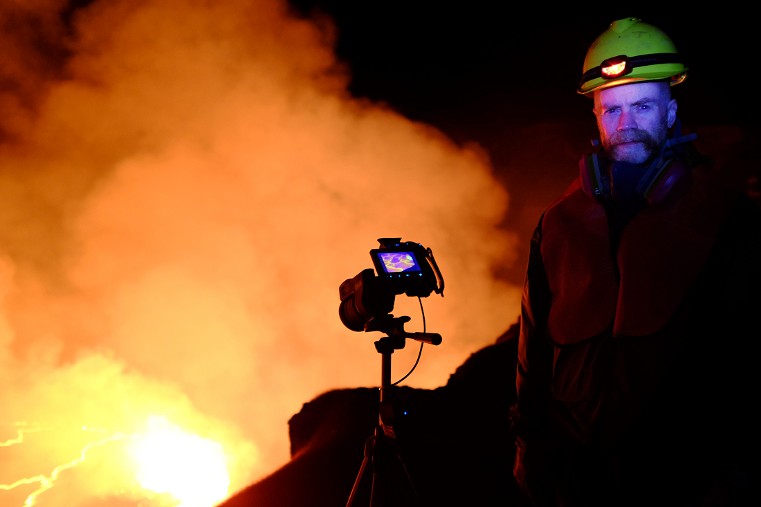 Dr. Ramsey collecting TIR data at a lava lake.