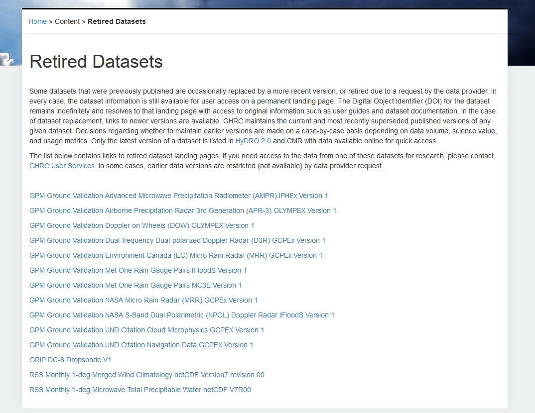 GHRC Retired Datasets webpage image