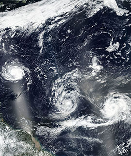 Hurricane Florence, Tropical Storm Isaac and Hurricane Helene in the Atlantic Ocean on 9 September 2018 (Suomi-NPP/VIIRS)