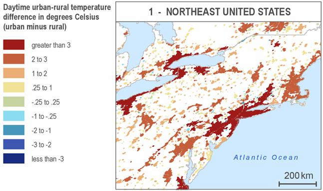 Map from the SEDAC Urban Heat Island Data Set