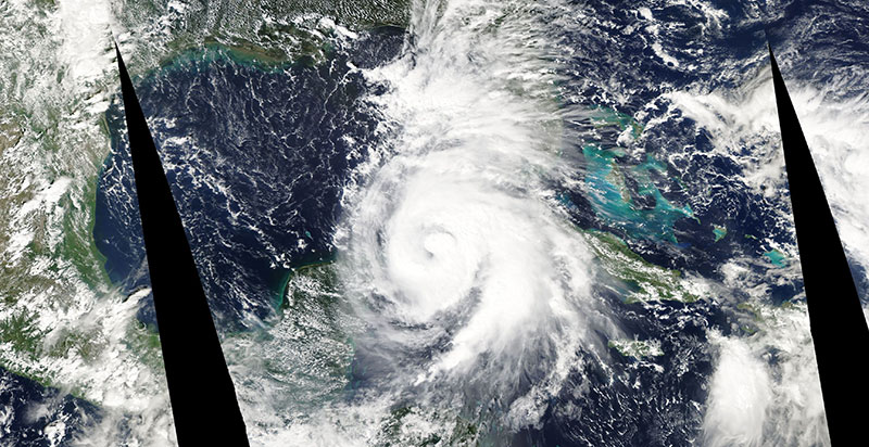 Hurricane Michael entering the Gulf of Mexico on 8 October 2018 (Suomi-NPP/VIIRS)