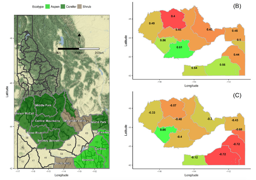 Data image showing mule deer habitats and survival rates